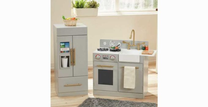 Teamson Kids-Modern Wooden Play Kitchen Set with Working Ice Maker and Removable Sink Review