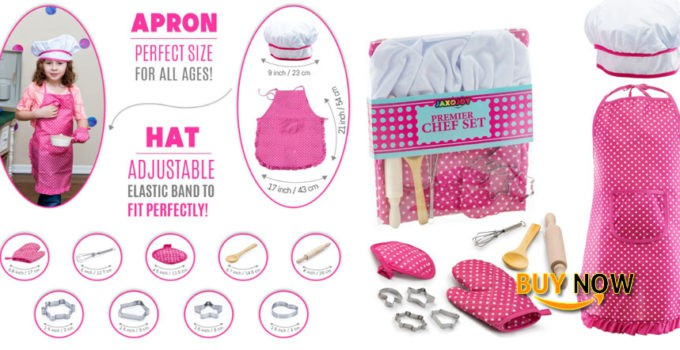 Cool JaxoJoy Complete Kids Cooking and Baking Set Review - 11 Pcs Includes Apron for Little Girls, Chef Hat, Mitt & Utensil for Toddler Dress Up Chef Costume Career Role Play for 3 Year Old Girls and Up