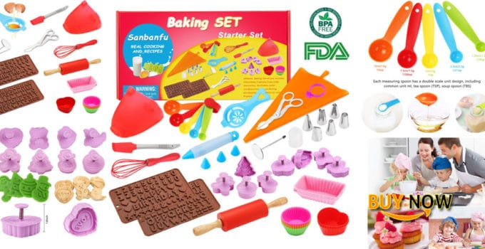 Kids Cooking Baking set Baking supplies Cupcake decorating kit-40 pcs include Silicone Chocolate Molds,Cupcake cups,Cake decorating kit,Cookie Cutters,Measuring Spoons,Rolling Pin,Spatula,Whisk Review