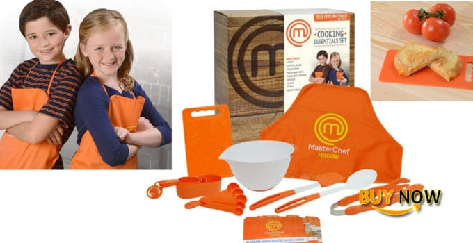 Review MasterChef Junior Cooking Essentials Set - 9 Pc. Kit Includes Real Cookware for Kids, Recipes and Apron