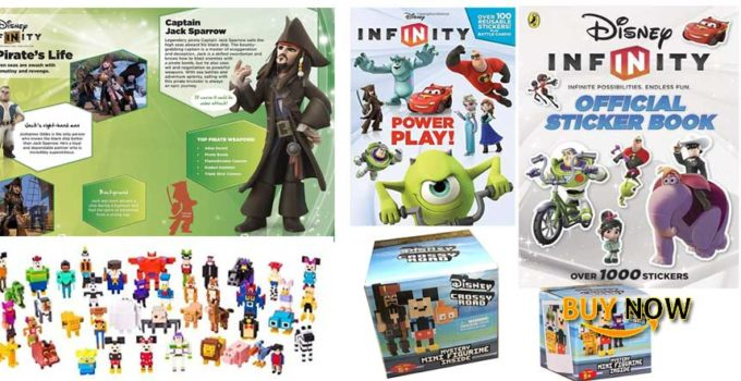 Crossy Road Disney Pixel Figure Pack & Infinity Sticker Book / Series 1 Blind Box + Series 2 8-Bit FigureMini Figure Power Play Action Video Game Character Bundle