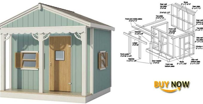 Buy Now: Kids Playhouse Plans DIY Micro Cottage Guest House Backyard Storage Shed 8' x 8'