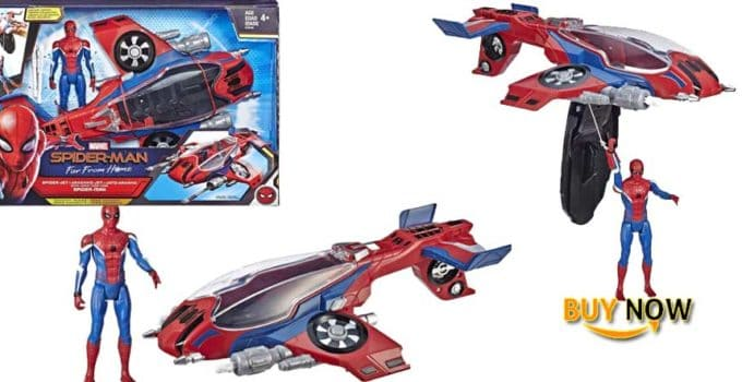 """Spider-Man: Far from Home Spider-Jet with - Vehicle Toy & 6""""-Scale Action Figure"""